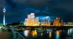 Gehry-Bauten Panorama (D.A. Lichtbilder) Tags: sky reflection water clouds germany frank deutschland nikon wasser himmel wolken gehry d750 nrw fx dsseldorf nordrheinwestfalen rheinturm medienhafen reflektionen 2016 japantag