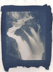 Sol Duc Falls (that analogue guy) Tags: coffee washington greentea toned olympicnationalpark bleached cyanotype alternativeprocess solducfalls