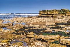 On The Beach (robinta) Tags: sea sky seascape colour texture water contrast landscape rocks waves pentax outdoor vibrant ks1 whitburn pentaxdal1855mm
