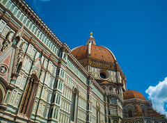 Duomo Santa Maria dei Fiore (elzauer) Tags: city roof sky italy history monument colors architecture facade outdoors photography cityscape cathedral religion it symmetry unescoworldheritagesite unesco tuscany cupola dome firenze christianity marble toscana oldtown vacations florenceitaly southerneurope duomosantamariadelfiore cloudsky traveldestinations colorimage famousplace buildingexterior nationallandmark internationallandmark italianculture europeanculture builtstructure