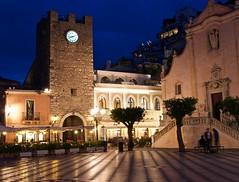Taormina centre clock tower at night (somabiswas) Tags: italy tower clock night lights centre sicily taormina