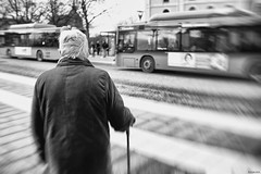Waiting (R A Pyke (SweRon)) Tags: city blackandwhite bw woman bus cane sweden quote stop pooh fujifilm winnie rebro sweron x100s