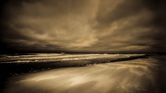 ANOTHER BEACH, ANOTHER TIME (Suzanna Mars) Tags: storm beach weather clouds dark sand surf