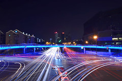 Shanghai - Light Streams (cnmark) Tags: china road light night stream long exposure shanghai district intersection   xizang zhabei haining allrightsreserved