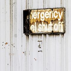 in case of n'ergency? (MyArtistSoul) Tags: venturaca juniperothompson decrepit old sign emergencypanelshutoff abandoned building typography minimal urban square 0351 awaitingapintotuxattopatopa