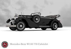 Mercedes-Benz W150 770 Grosser Cabriolet (1938 - 1943) (lego911) Tags: mercedesbenz mercedes benz w150 770 grosser cabriolet 1938 1943 1930s 1940s luxury hitler third reich nazi germany german auto car moc model miniland lego lego911 ldd render cad povray supercharger supercharged lugnuts challenge 103 thefabulousforties fabulous forties foitsop