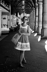 Girl under Ambulatories // Hamburg (//Sebastian) Tags: summer sun white black lines turn germany glasses dress wind hamburg center arcades leading colonnaden ambulatory ambulatories