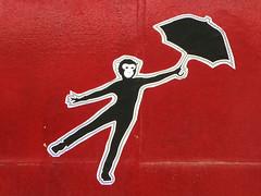 Monkey (Draopsnai) Tags: red streetart pasteup umbrella graffiti monkey sticker shoreditch