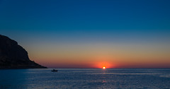 A New Dawn (georgeplakides) Tags: blue red sea sun hope dawn golden boat greece future rise monemvasia