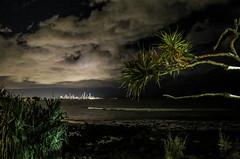 burleigh heads at night, looking north to Surfers Paradise (robertmilesdesign) Tags: skyline coast seaside australia queensland australianlandscape pandanus burleighheads