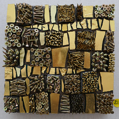 Screws and gold glass shards mosaic (Monceau) Tags: glass french screws gold artwork mosaic nails artists mosaque 145366