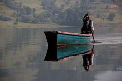 Boatman Pokhara (nick taz) Tags: nepal lake reflection water boat image pokhara boatman phewalake