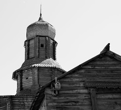 / Tower in wooden fortress (Abs0lute2010) Tags: architecture blackandwhite building church culture cupola dome fortress history kremlin log museum plank roof russia siberia sky summer timber tomsk tower wall window wood wooden