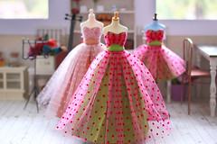 For Blythe Con Japan... (Trio Blythe) Tags: pink green soft pretty bright handmade pastel frock blythe 50s trio intricate