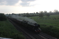 Flying Scotsman through Badminton (Emma Spanswick) Tags: travel friends cloud sun london nature station train evening track tour transport engine rail railway loco trains funday steam railwaystation trainstation engines transportation locomotive thrash railwayline trainspotting coaches steamengine steamtrain steaming scotsman flyingscotsman trainspotter steamlocomotive enthusiasts spotters railwaysstation 60103 steamdays