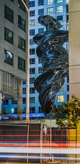 venus undressed (pbo31) Tags: sanfrancisco california city july 2016 nikon d810 summer boury pbo31bayarea color lightstream motion traffic roadway panoramic large stitched panorama construction soma missionstreet venus trintyplace apartment tenderloin sculpture art courtyard silver giant blue