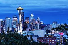 Seattle Skyline (Albert Jafar) Tags: seattle lights dusk ngc spaceneedle kerrypark nightphoto buidling downtownseattle seattleskyline skyscrapper photographerswharf
