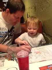 "Paul and Daddy Draw Cubes at Margarita's • <a style=""font-size:0.8em;"" href=""http://www.flickr.com/photos/109120354@N07/27754679272/"" target=""_blank"">View on Flickr</a>"
