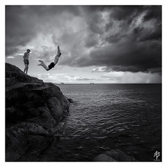 Into Thin Air...   [Explored July 5th 2016] (fearghal breathnach) Tags: fortyfoot blackwhite blackandwhite monochrome squareformat square border candid swimmer diving jumping inmotion lifeinmotion intothinair