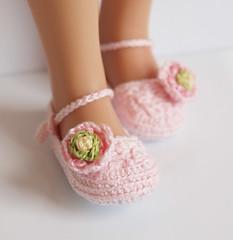 Pink Ranunculus (Maria Kłopotowska) Tags: pink flower green shoes doll hand handmade crochet ranunculus made slippers littledarling effner