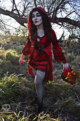 Through the Woods 7614 (JoDi War) Tags: trees sunset red wild nature grass fairytale dark lost blood woods wolf dress boots lace gothic victorian velvet hood storybook rhyme grandmothershouse nurseryrhyme throughthewoods storytale