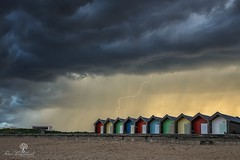 The Streak (Dave Brightwell) Tags: sky storm beach beautiful weather clouds canon landscape photography dramatic stormy huts northumberland lightning northeast vanguard blyth 6d lowepro leefilters nisifilters vanguardphotoengland
