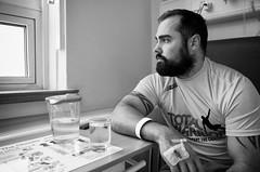 Even Army Heroes Get Leukemia (nigelhunter) Tags: portrait tattoo hospital beard army cancer heroes tough leukemia treatment cannula