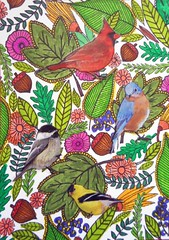 ATC1318 - Find the birds (#224 on EXPLORE, 6 July 2017) (tengds) Tags: pink flowers blue red orange brown green leaves birds yellow atc artisttradingcard card handcolored acorns papercraft handmadecard vividstriking tengds