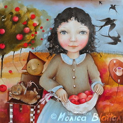 Pinafore Full Of Apples (Monica Blatton) Tags: tree bird girl childhood animals mystery modern cat children gladness kid handmade contemporary surrealism fineart surreal happiness orchard handpainted oil apples oilpaintings oils mystic oilpainting swallows oiloncanvas carelessness blatton canvaspainting carefreeness