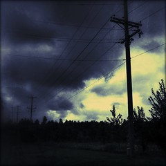 Storm (Firery Broome) Tags: blue sky storm nature yellow clouds dark square wire hurricane gray cream brooding telephonepoles toned distressed treated iphone ipad iphoneography instagram