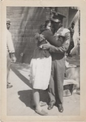 she loved him so much (lydiafairy) Tags: love vintage found soldier hug war uniform military vernacular goodbye sweethearts veteran foundphoto memorialday vintagephoto inuniform