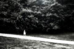 Light (KivetOnRock) Tags: park trees light bw white black girl forest canon eos kid child d walk mets puisto valo lapsi tytt polku mustavalkoinen ef135f2l kivetonrock
