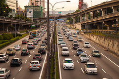 Rush Hour (Paul Mullins Photography) Tags: city cityscape traffic earlymorning malaysia rushhour kualalumpur kl petalingjaya cityskyline federalhighway cityvista