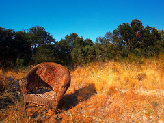 Nowhere (raspu) Tags: summer espaa spain chair alone country nowhere sofa silla solo verano campo sillon armchair isolated aislado