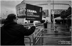 obama close quantanamo bay, protester at the Belfast waterfront hall. (teedee.) Tags: bay belfast international amnesty obama protester g8 quantanamo