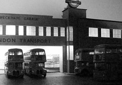 Bright lights of Peckham (kingsway john) Tags: peckham garage bus lt illuminated light lights london transport model 176 scale efe diorama londontransportmodel oo gauge miniature