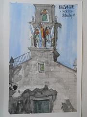 Iglesia de Ouzande, fachada (parcial) (AstridSeijas) Tags: church watercolor drawing sketching iglesia romanic acuarelas románico ouzande urbansketchers