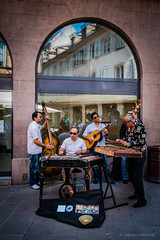 Street Band in Strasbourg (Simon Downham) Tags: street summer musician window musicians artist bass guitar live band july jazz double strasbourg artists strings jolly cheerful arched 2013 lyve akustic dscf0238lr12