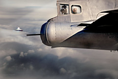 July 1947 (Stacy Ann Young) Tags: composite photomanipulation plane flying military digitalart roswell craft ufo bomber fifi 1947 sighting b29 aboveclouds artprints stacyyoungart