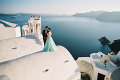 Santorini style wedding shoot (marin.tomic) Tags: travel blue roof wedding light sea white film rooftop church water architecture analog island greek volcano coast mediterranean view minolta insel santorini greece crater caldera romantic fujifilm analogue griechenland volcanic santorin oia cyclades agean fujifilmsuperia400 kykladen