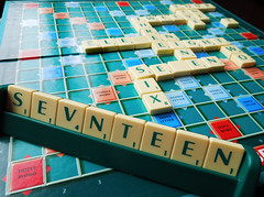 17 - A finding in Scrabble (Puckpics) Tags: board letters games number numbers tiles scrabble 17 boa
