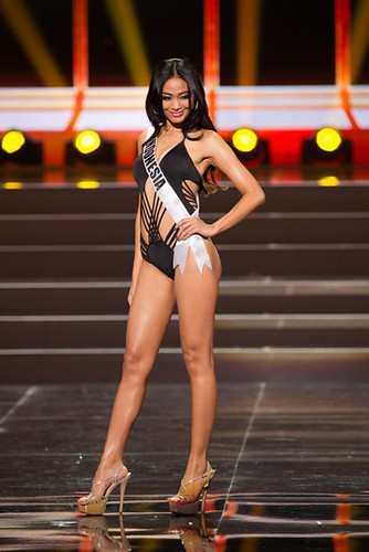 This photo provided by the Miss Universe Organization shows Whulandary, Miss Indonesia 2013, competes in the swimsuit competition during the Preliminary Competition at Crocus City Hall, Moscow, on November 5, 2013. Miss Universe 2013 will be crowned at th