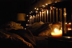 twinkle, twinkle (F.i.d.e.l.i.u.s) Tags: light film lights bed bedroom christmaslights messy indie filmgrain faerielights