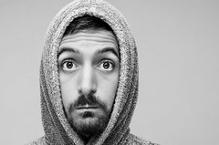 (Damien Cox) Tags: uk portrait blackandwhite selfportrait man male me face self ego myself beard mono nikon masculine robe moi headshot hood dressinggown grayscale scruff stubble hooded i damiencox dcoxphotographycom