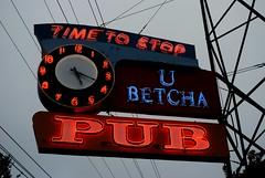 U Betcha Pub (Cragin Spring) Tags: clock sign bar vintage washington pub neon pacificnorthwest wa neonsign tacoma oldsign tacomawa vintagesign tacomawashington timetostop ubetcha