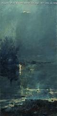 Eugenio Prati Riflessi lunari sul lago 1877 olio su tela 82 x 41 cm Collezione privata
