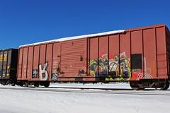 Mecro, Messness (NJphotograffer) Tags: new railroad art car train graffiti box nj rail jersey graff freight eec cdc trackside mecro