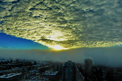 Dramatic sunrise between cushion-like clouds and fog layers on a snowy day. (peggyhr) Tags: blue trees sky urban white snow canada yellow fog vancouver sunrise grey bc textures harmony thegalaxy 25faves peggyhr naturestyle 100commentgroup mygearandme blinkagain redgroupno1 yellowgroupno2 bluegroupno4 greengroupno3 supersixstage1~flickrbronze niceasitgets~level1 frameit~level01~ musictomyeyes~l1 p1060261a