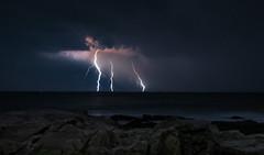 Triple Strike (JoshBlash) Tags: ocean nightphotography light sea sky seascape storm beach nature water weather electric clouds photography coast waves power horizon newengland newhampshire nh rye shore bolt lightning figment atlanticocean tides joshblash