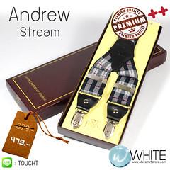 Andrew Stream - สายเอี้ยม (Suspenders) สายสีกรมท่าเทา ลายน้ำเงิน เทา แดง ขนาดสาย กว้าง 3.5 เซนติเมตร